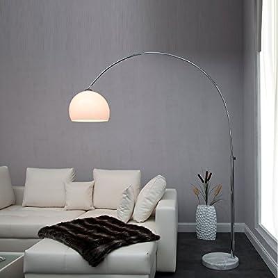 BIG BOW RETRO DESIGN LAMPE WEISS höhenverstellbar mit Dimmer XTRADEFACTORY Lounge Stehlampe