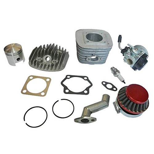 JRL Kit de Moteur 47mm Cylindre Piston Filtre Collecteur Joint Bougie Carburateur Pour Moteur ?essence 2 Temps 80cc Motor Bicycle Engine Complete Kit Motorized Bike - Motor Benzin Fahrrad