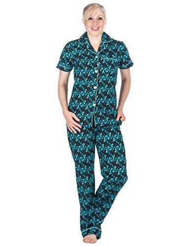 Damen Schlafanzuge aus 100% Baumwolle-Popeline - Herzen Marineblau - L 100 Bl Mount