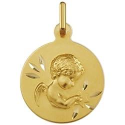 ANGE ETOILE - Médaille Religieuse - Or 9 carats - Hauteur: 16.5 mm - www.diamants-perles.com