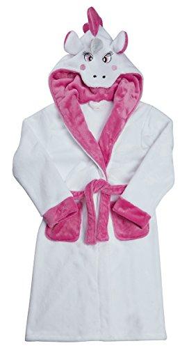 Minikidz Girls Novelty Unicorn Dressing Gown (Ages 2-13yrs) Fleece Hooded Pony Robe