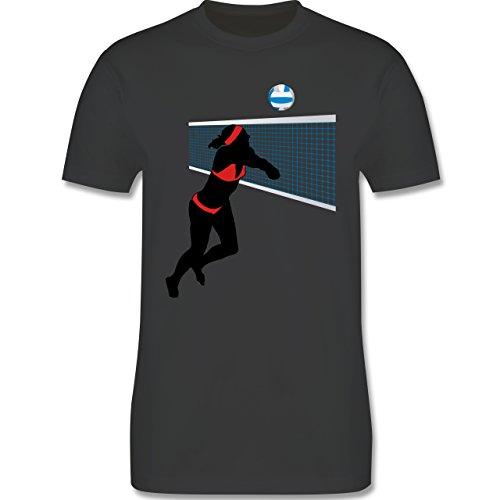 Volleyball - Beachvolleyballspielerin Baggern Netz Ball - Herren Premium T-Shirt Dunkelgrau