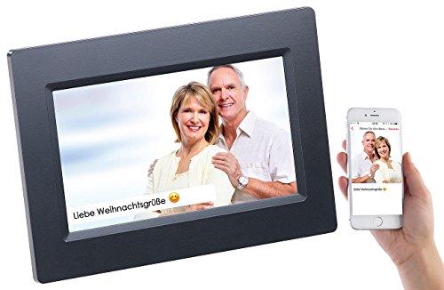 Somikon Digitale Bilderrahmen: WLAN-Bilderrahmen mit 17,8-cm-IPS-Touchscreen & weltweitem Bild-Upload (Fotorahmen)