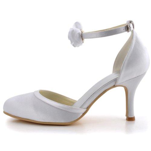 Elegantpark EL-0114 Femme Bout Rond Fleur Boucle Cheville Talon Aiguille En Satin Chaussures De Mariage Ivoire