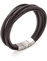 """Murtoo Echt-Leder Armband schwarz braun mit Edelstahl Magnet verschluss 8.07""""(21cm)"""