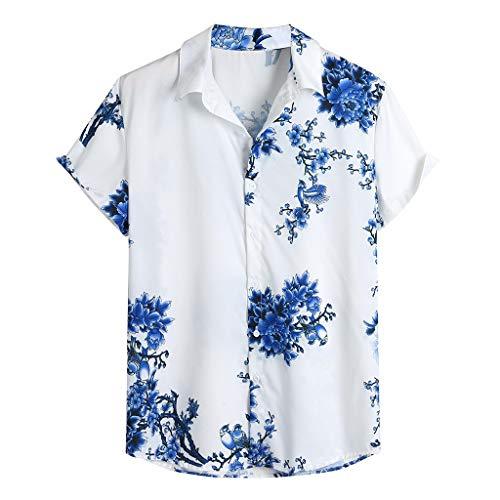 Herren Hemd Urlaub Strand Hawaiihemd Shirt Freizeithemd Kurzarm mit modischem Druck Baumwolle und Leinen Nicht verfärbend Beste für Sommerferien wie Party, Lager, BBQ, Strand,Joggen -