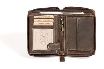 Damenbörse m. umlaufenden Reißverschluss Lilianen-Muster LEAS in Echt-Leder, braun - LEAS Vintage-Collection