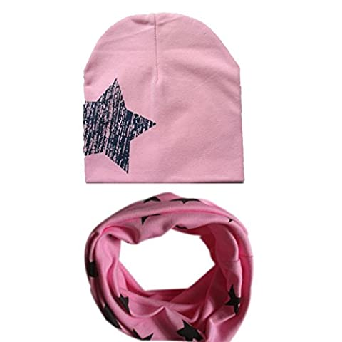 Kingko® Fashion Baby Hat Scarf Boys Girls Infant Children Scarf Cap Child Scarf Hats Caps (Pink)