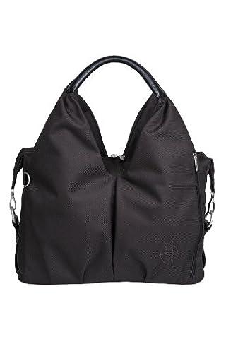 Lassig Green Label Neckline Style Diaper Bag includes matching Bottle Holder, Changing Mat/Pad and Stroller Hooks, Black