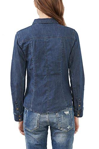 edc by ESPRIT Damen Bluse Blau (Blue Dark Wash 901)