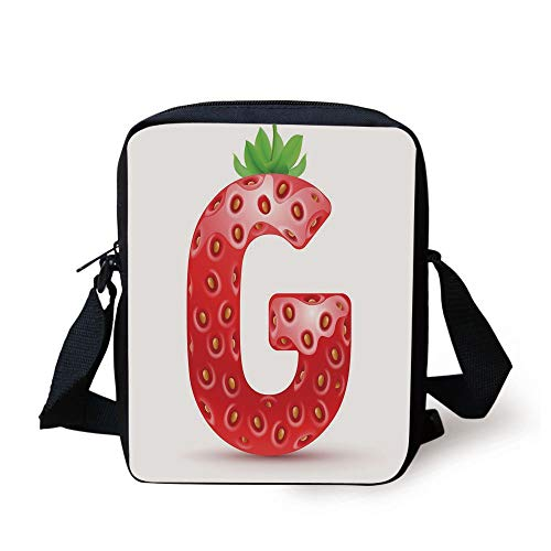 Letter G,Exotic Berry Style with Green Leaves Healthy Gourmet Ripe with Seeds Decorative,Vermilion Green Orange Print Kids Crossbody Messenger Bag Purse -