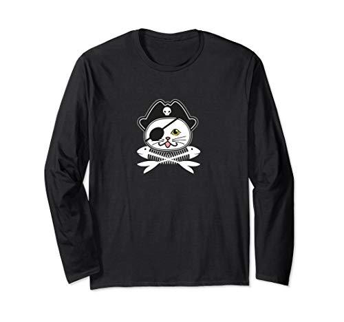 Süße Piraten Augenklappe Katze Einfaches Halloween Kostüm Langarmshirt (Einfache Schwarze Katze Kostüm)