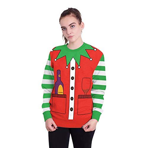 Damen Herren Sweatshirt Hoodies 2018 Europäische Und Amerikanische Erwachsene Weihnachtsmann Rundhals Langarm-Pullover, XL, Weihnachten Elch