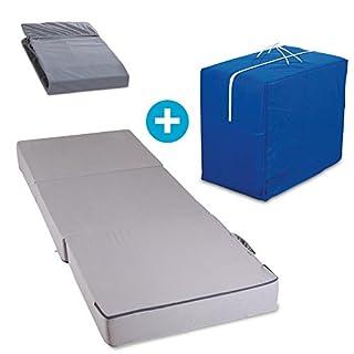 aktivshop Gästematratze mit Transporttasche und Spannbettlaken 3-teiliges Set 15 cm dick Schaumstoff faltbar 75x15x195 cm Grau