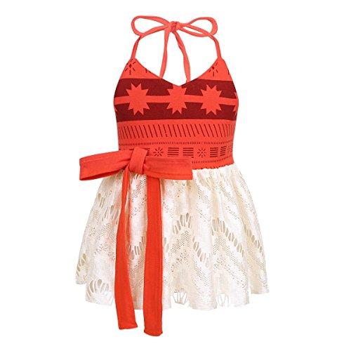 Freebily Baby Mädchen Kleid Adventure Kostüm Halloween Neckholder Kleid Festzug Prinzessin Kleid Cosplay Kostüm Rot 50-68/0-6 Monate