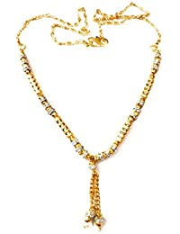 Necklace Designer Jewellery American Diamond 24 Ct Gold Plated Partywear Necklace Collection For Women