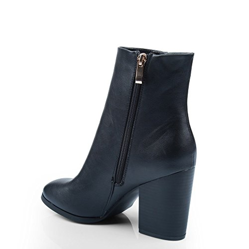 Ideal Shoes-Scarpette in simil pelle a Lama spessa con frange in Serra pelle Nero (nero)