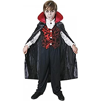 Deluxe Vampire Costume Dracula Cape Kids Childrens Halloween Fancy Dress Outfit (7-9 years)
