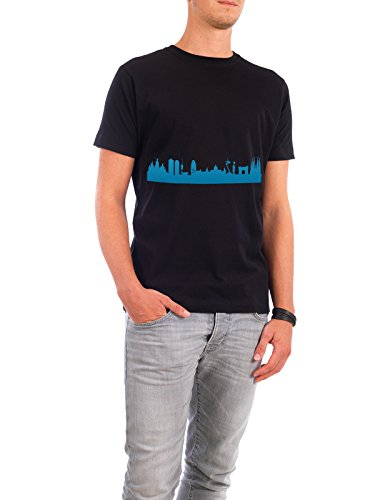 "Design T-Shirt Männer Continental Cotton ""BARCELONA 05 Skyline Print monochrome Teal"" - stylisches Shirt Abstrakt Städte Städte / Barcelona Architektur von 44spaces Schwarz"