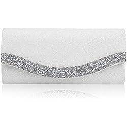 Bolso Blanco de Mano con perfil brillante en la solapa