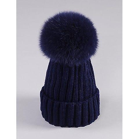 Piel falsa bola de algodón mujeres Beanie/Slouchy,lindo / otoño / invierno Casual,Azul marino,One-Size