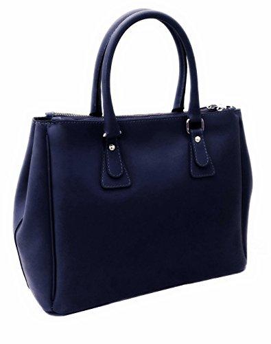 Contessa dal pozzo Damen Anastasia Handtasche, Blau (Blu), 35x25x18 cm (Leder Echtem Aus Handtasche Eimer)