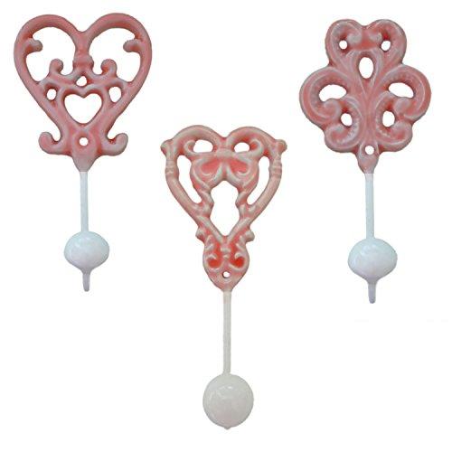 LS Design 3 Metall Garderobenhaken Wandhaken Wandgarderobe Garderobe Shabby Antik Rosa