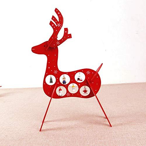 HAPPYLR decorationWooden Mini Weihnachtsbaum Dekoration Paket Desktop Ornamente Weihnachtsschmuck Weihnachten Szene Fenster Display Geschenk, Holzart DREI Hirsche