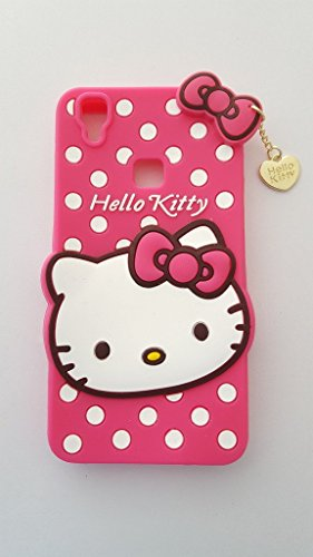 Trifty Vivo V3 Max Girl's Back Cover Hello Kitty Silicon with Pendant - Pink