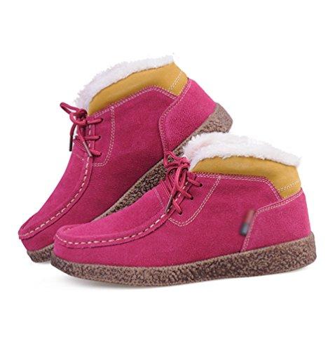 Chaude Lacets Loisirs Femme YiJee Chaussures Épaississement Rose de Chaussures Bottes ville à vIgwIaq