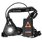 Nacht Sports Lauflicht, LED USB Wiederaufladbare Lauflampe Lichter Brustlampe 250 LM wasserdicht leicht mit 3 Beleuchtungsmodi für Läufer Jogger Sport im Freien Gehen Angeln Camping Wandern Klettern