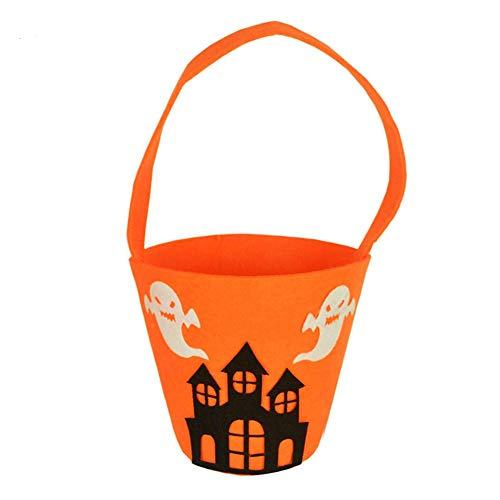 Fablcrew 1 Stück Eimer Kürbis tragbar Halloween Beutel Kürbis Tasche ALS Geschenk für Süßigkeiten Kekse Geschenk für Kinder Halloween, Stoff, Style A, 16 * 11CM (Kunststoff Kürbis Eimer)
