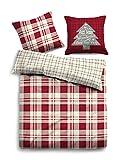 TOM TAILOR Heimtextilien & Bettware Weihnachtliche Bettwäsche kirschrot/Cherry red, 135/200