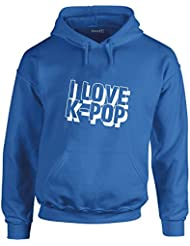 I Love K-Pop, Gedruckt Hoody - Pullover - Königsblau/Weiß M = 96-101 cm