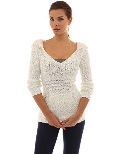 PattyBoutik femmes chandail en tricot à capuche à manches longues Blanc