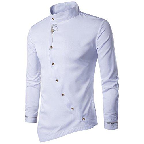 (SEWORLD 2018 Herren Herbst Winter Hemd Slim Kariert Unregelmäßige Langarmhemd Stickerei T-Shirt Oberteil Oktoberfest (Weiß,EU-48/CN-M))