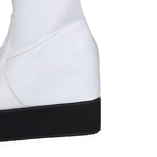 AgooLar Femme Haut Élevé Zip à Talon Haut Rond Bottes Blanc