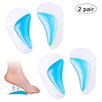 nuosen 2 Pairs Gel Arch Support Insoles, Flat Feet & Plantar Fasciitis Relief Orthotic Arch Pads High Heel Insert Cushion Pad(One Size Fits All)