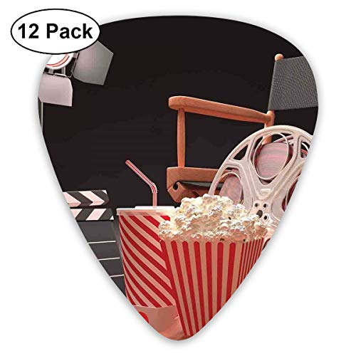 Guitar Picks12pcs Plectrum (0.46mm-0.96mm), Objects Of The Film Industry Hollywood Motion Picture Cinematography Concept,For Your Guitar or Ukulele