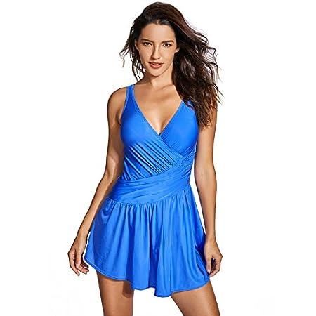 DELIMIRA Femme Maillot de Bain 1 Pièce à Jupette Bonnet Rembourré Grande Taille Bleu FR:54 (EU 52)