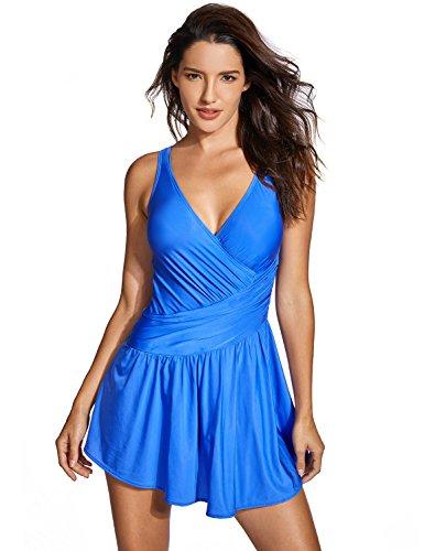 nzug - ohne B�Gel Gr��er Gr��en Einteiler Badekleid Blau 44 ()