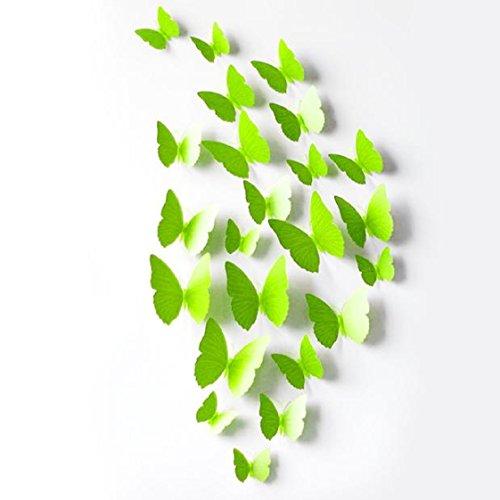 Vovotrade 12 3D Pcs Stickers muraux papillon aimant pour Décoration New (Vert)