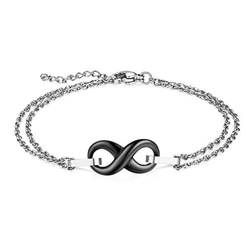JewelryWe Schmuck Damen Armband, Edelstahl Keramik Lieben Infinity Unendlichkeit Zeichen Armkette Charms Armreif, Verstellbare Größe, Schwarz Silber