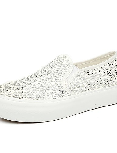 ZQ Scarpe Donna-Mocassini / Senza lacci-Tempo libero / Casual-Creepers / Comoda / Punta arrotondata-Piatto-Tulle-Nero / Bianco , white-us8.5 / eu39 / uk6.5 / cn40 , white-us8.5 / eu39 / uk6.5 / cn40 black-us6.5-7 / eu37 / uk4.5-5 / cn37