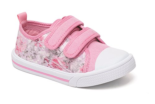 Foster Footwear Kids Girls Toddlers Chatterbox Infant Flower Canvas Pumps Princess Trainers Shoe (UK 9 Infant/EU 27, Betsy Pink)