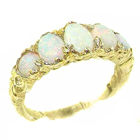 High Quality Solid 9ct Gold Natural Opal English Victorian Ring - Size K - Finger Sizes K to Y