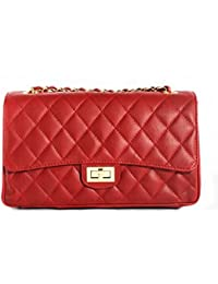 Italian Leather Quilted Designer Inspired Handbag with Gold Trims