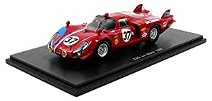 Spark-Miniatura de Coche Alfa Romeo T33/2Le Mans 1968(Escala 1/43, S4369, Rojo/Azul
