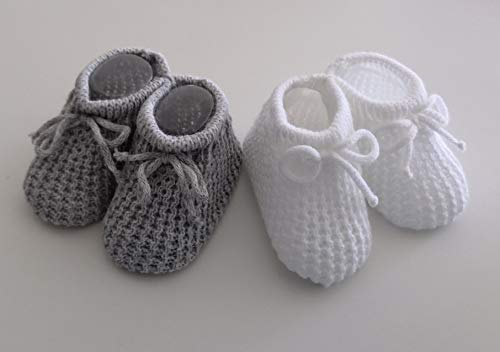 Babyschuhe, gestrickt, Grau/Weiß, 2 Paar
