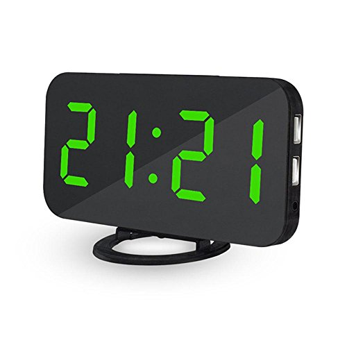Sveglia digitale da comodino a corrente Teepao orologio digitale con ampio display LED da 6,5 modalità, funzione superficie speculare, doppie porte di ricarica USB